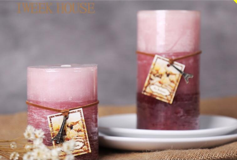2017 high quality multi-color christmas pillar candle