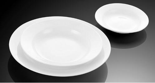 Round Shape Plain White Porcelain Soup Plates