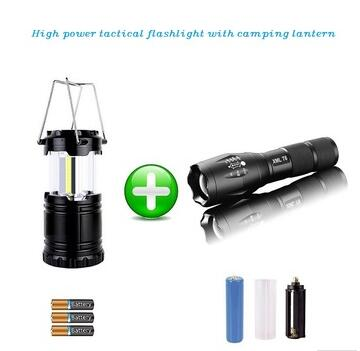 Zoomable high power tac light T6 led flashlight with cob camping tac lantern set