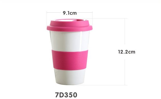 400cc ceramic cup mugs with silicone lid and band