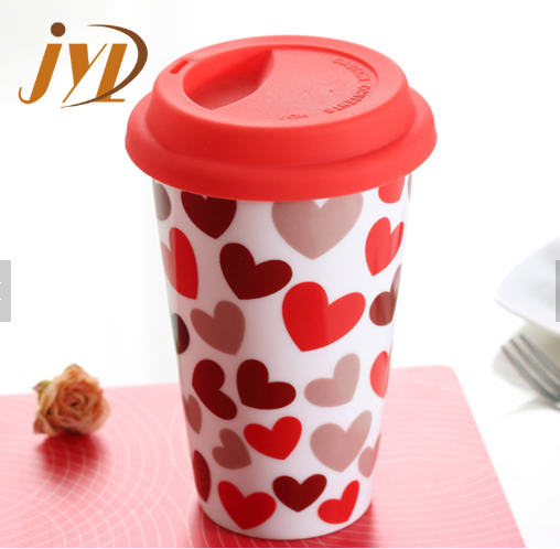 280cc double wall ceramic mug with silicone lid