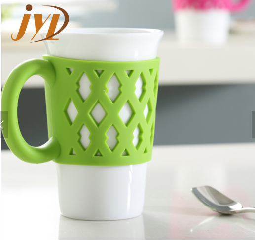 white ceramic mugs with colored silicone handle grip wholesale