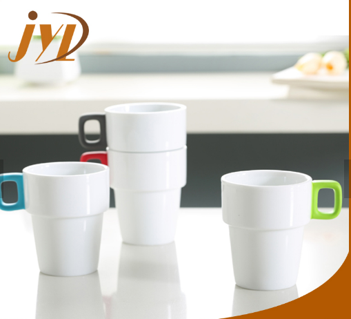 Stackable Coffee Mugs With Rubber Coating Handles And Rack M