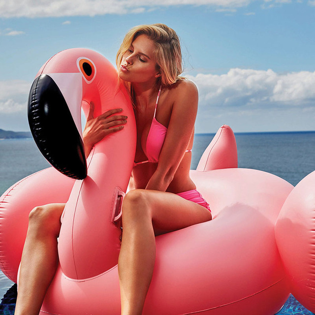 150CM 60 Inch Giant Inflatable Flamingo Pool Toy Float Inflatable Pink Cute Ride-On Pool Swim Ring for Water Holiday Fun Party