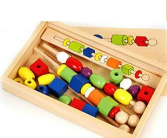 education string of beads montessori wooden toy