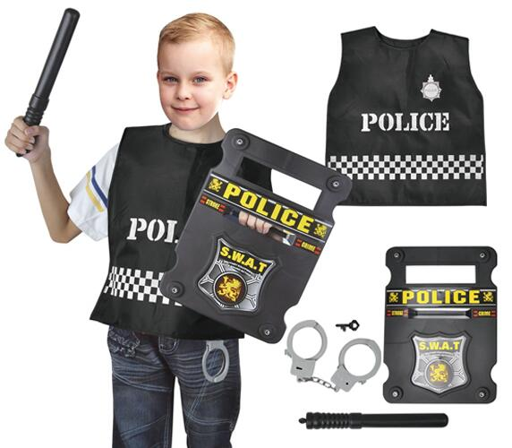 NEW 4 PCS DELUXE POLICEMAN UNIFORM RESCUE MILITARY TOYS POLICCE PLAY SET,ROLE PLAY SET WITH PLASTIC ACCESSORIES