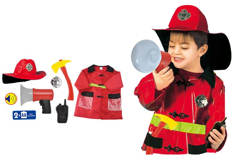 Educational toys role play kids costume fireman suit with tool and toy fireman helmet