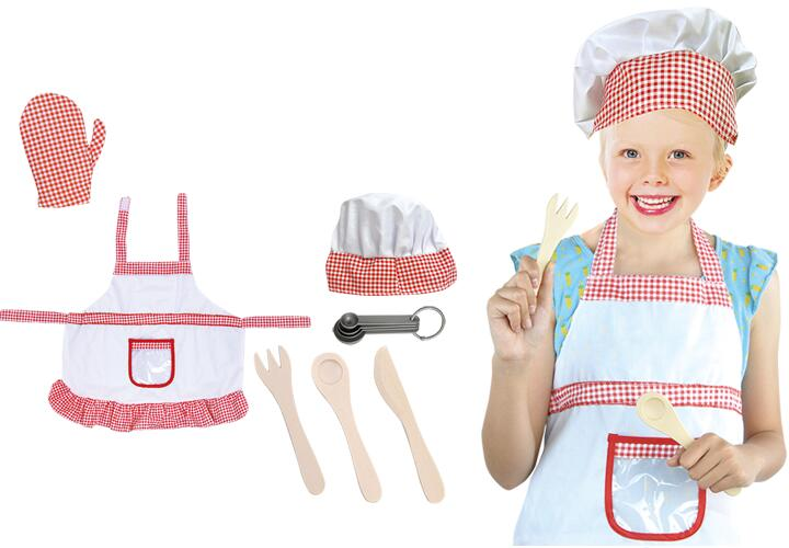 7PCS KIDS CHEF UNIFORM COSPLAY ROLE PLAY PARTY TOY SET WITH ACCESSORIES