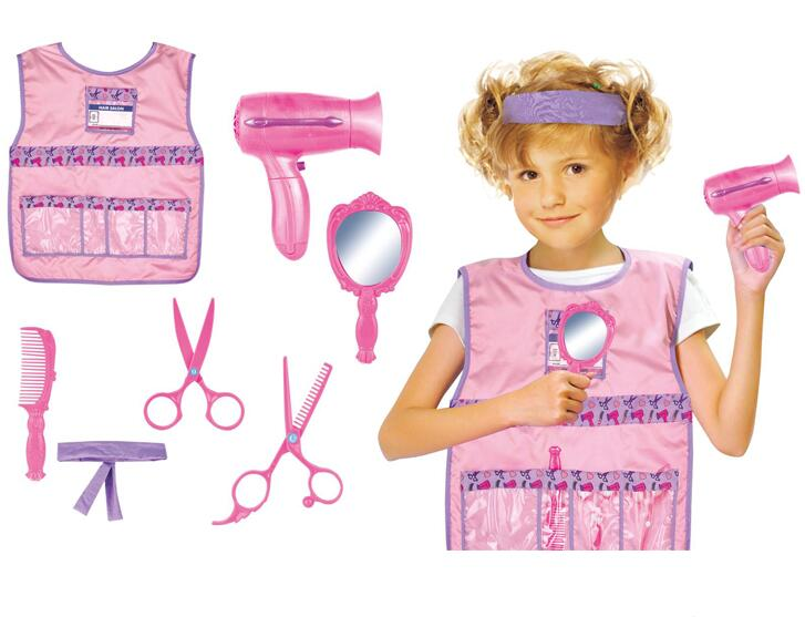 8PCS DELUXE KIDS HAIRDRESSER UNIFORM ROLE PLAY TOY SET FOR COSPLAY PARTY