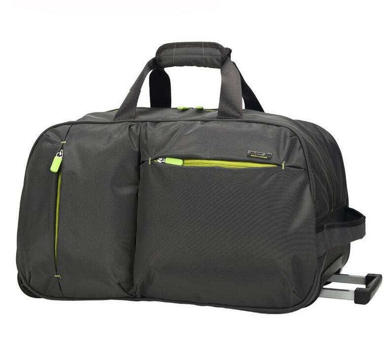 High Quality Unisex Nylon Travel Bag Solid Color Duffle Bags with Trolley and Wheels Light Weight Hand Luggage