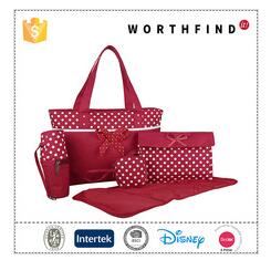 Hot sale fashion style polyester baby diaper tote bag with changing pad