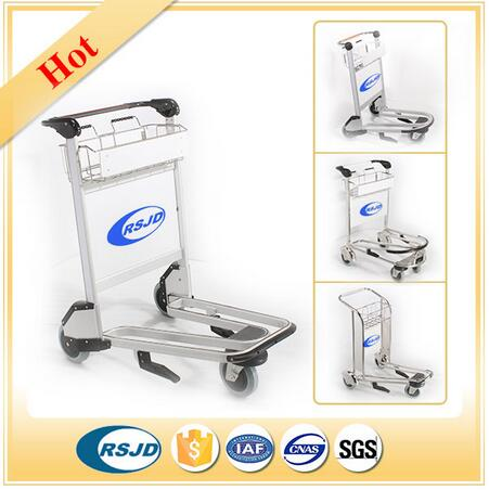 3 wheels passenger baggage luggage airport trolley with hand brake