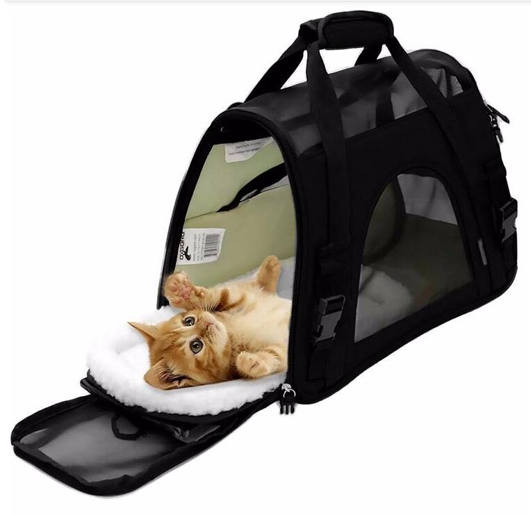 High Quality Airline Approved Pet Carrier with Fleece Bed for Dogs Cats
