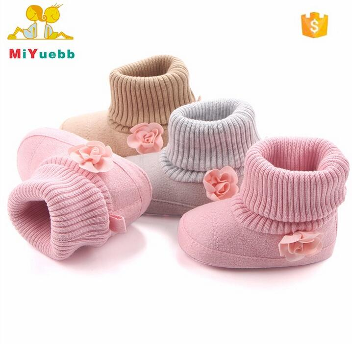 Hot Crochet Beautiful Flower Soft Sole Safety Baby Boots