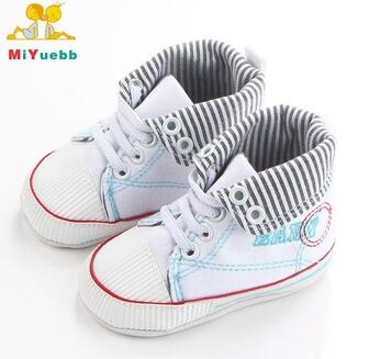 High Quality Baby High Top Canvas TPR Sole Newborn Baby Shoes