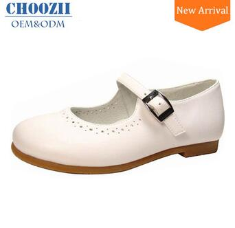 Manufacturer Custom Colors Children Girls White Leather School Shoes