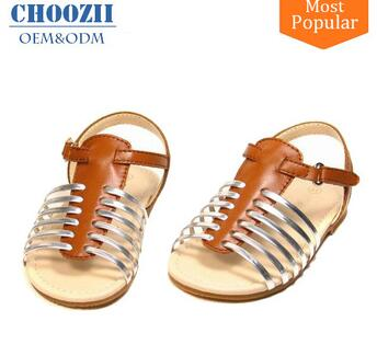 Wholesale Comfortable 2017 New Flat Leather Sandals Lady Shoe
