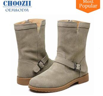 Wholesale Western Elegant Children Girls Flat Thigh High Leather Winter Boots with Side Zip Closure