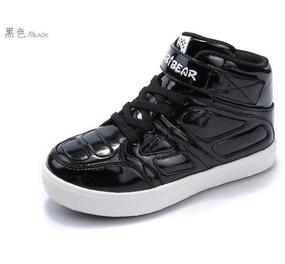 HOBIBEAR wholesale pu upper fashion flat neakers high top kid new model casual shoe