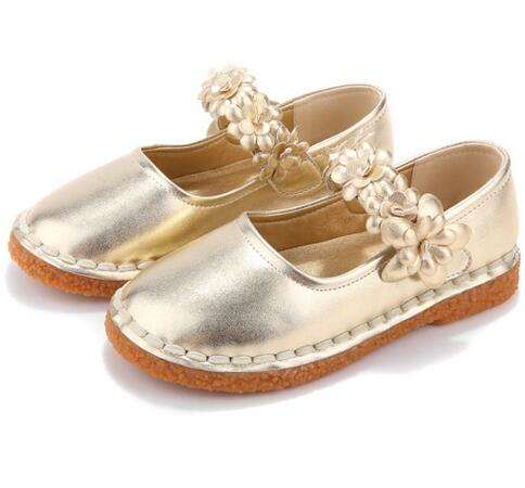 HOBIBEAR high class fashion gold flower girl dress shoes