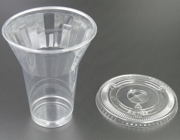 10 Ounce trumpet design clear disposable plastic juice cup