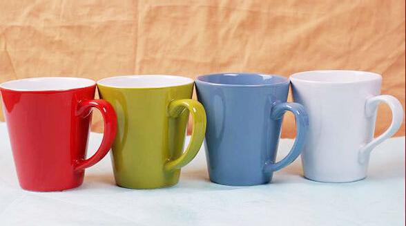 Tapered color glazing ceramic coffee mug wholesale