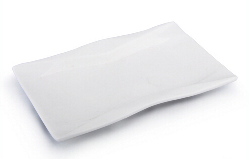 Rectangle white with decal porcelain enameled plate