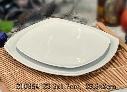 OEM unique design cheap square white ceramic plate