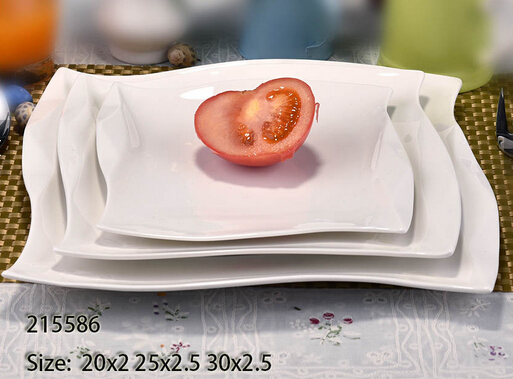 Stocked cheap white square plate for hotel and restaurant