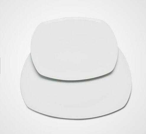 Two sizes square white dinner plate for restaurant