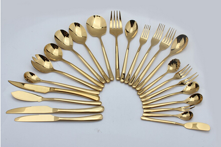 Hotel gold luxury stainless steel flatware sets