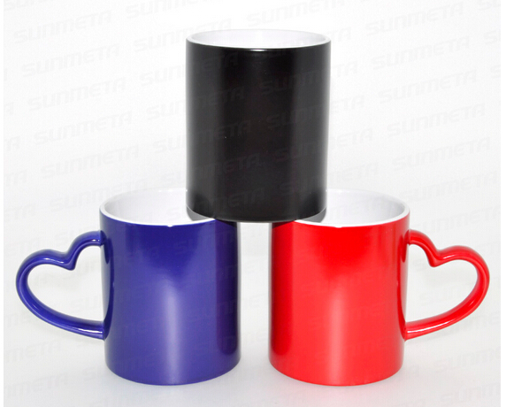 3 Color Sublimation Coated Ceramic Mugs with heart handle