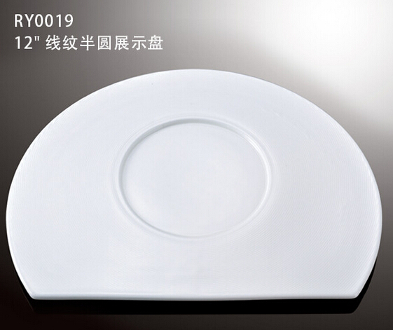 Lines decoration semicircle shape ceramic show plate
