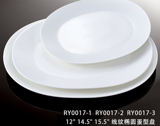 OEM&ODM lines decoration oval shape porcelain plate