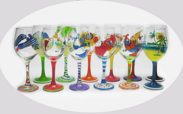 320ml high quality cheap colorful hand painted wine glass