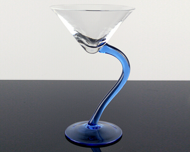 Transparent and blue popular hand-made martini glass