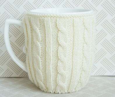 White color glazed Ceramic coffee mug with knitted cover