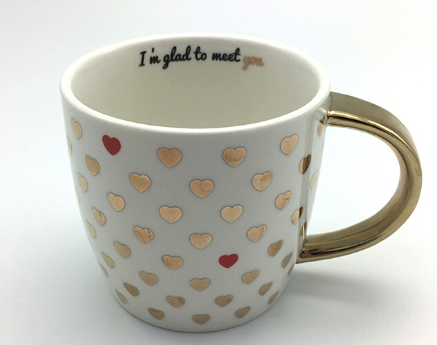 Super absorbent ceramic mug with electroplating handle