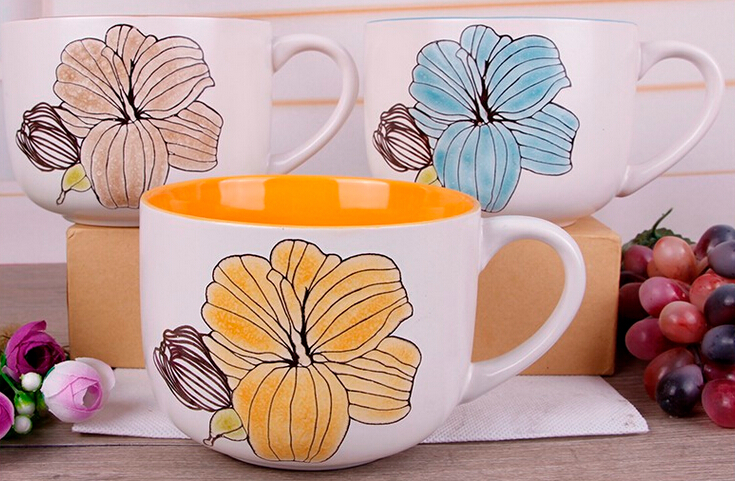 Cheap bulk white patterns with flowers ceramic soup mug