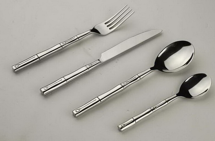 Bamboo Joint Shape Handle Stainless Steel Cutlery Set