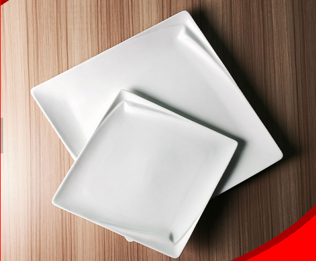 Hot selling promotional white ceramic square plate wholesale