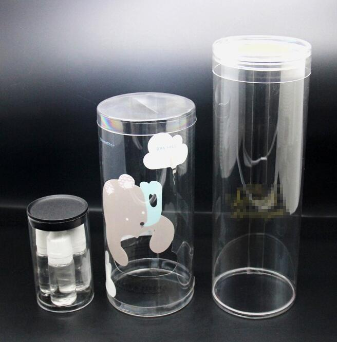 New style custom PET/PVC material cylinder clear plastic retail packaging