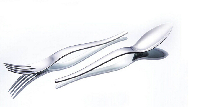Brand Natasha curved stainless steel flatware
