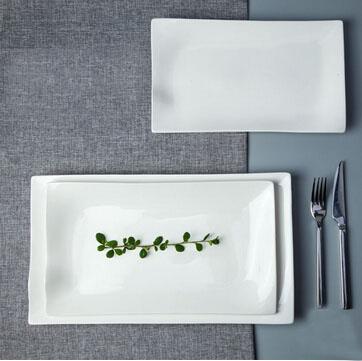 porcelain rectangle flat plate for fancy hotel