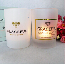 Decorative flameless scented candles in glass jar