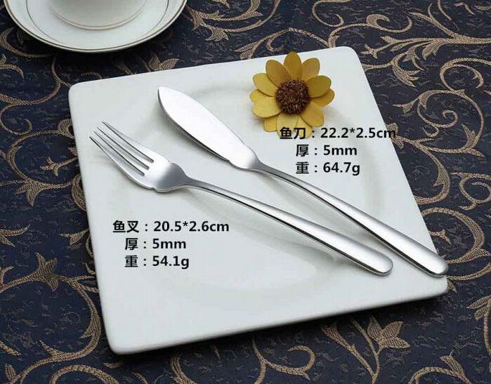 High-Class Rustless Unfolded Dinner Fish Knife and Fork
