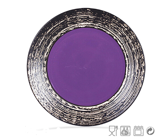 Artistic Glazing Ceramic Dinner Plate With Inner-Color