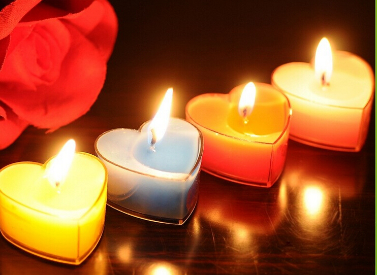Heart shape small clear tealight candle wholesale