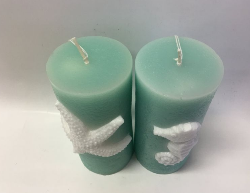 Green Color Ocean Animal Embossed Pillar Candle