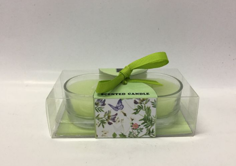 Green Scented TeaLight Candle In Glass Jar